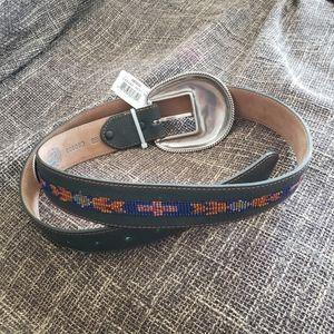 Tony Lama 38 Beaded Leather Belt BR5028